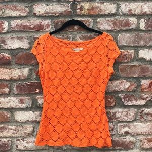 Banana Republic orange crochet blouse